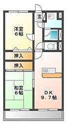 愛知県豊橋市西小鷹野3丁目の賃貸マンションの間取り