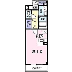 ユング フラウI 1階ワンルームの間取り