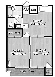 神奈川県川崎市多摩区菅北浦2丁目の賃貸マンションの間取り