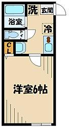 ロジュマン日野南平I番館 1階1Kの間取り