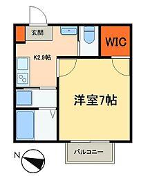JR常磐線 松戸駅 徒歩10分の賃貸アパート 1階1Kの間取り