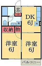 千葉県大網白里市ながた野1丁目の賃貸アパートの間取り