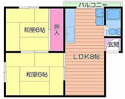 さぬきマンション高倉 4階2LDKの間取り