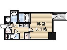 Osaka Metro谷町線 谷町九丁目駅 徒歩4分の賃貸マンション 15階1Kの間取り