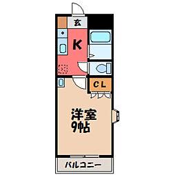 栃木県小山市駅東通り3丁目の賃貸マンションの間取り