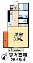 JR総武本線 稲毛駅 徒歩10分の賃貸アパート 1階1Kの間取り