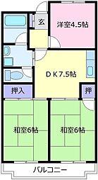 大阪府松原市阿保7丁目の賃貸マンションの間取り