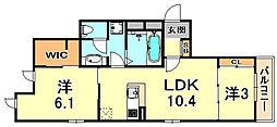 J's Garden 1階2LDKの間取り