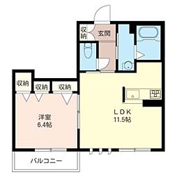 メゾン・ド・ソレイユ 3階1LDKの間取り
