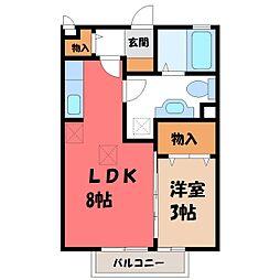 栃木県宇都宮市北若松原1の賃貸アパートの間取り