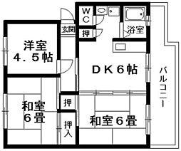 パインリーフ栗東弐番館[2階]の間取り