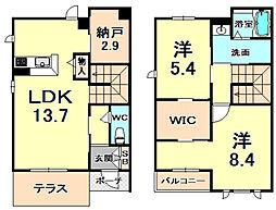 阪急神戸本線 夙川駅 徒歩17分の賃貸アパート 1階2SLDKの間取り