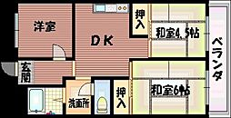 大阪府大阪市平野区加美東1丁目の賃貸マンションの間取り
