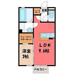 栃木県小山市神山1の賃貸アパートの間取り