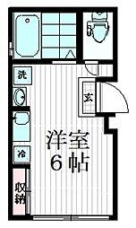桜ヒルズときわ台 4階ワンルームの間取り