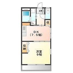 愛知県豊橋市弥生町字中原の賃貸アパートの間取り