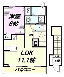 JR五日市線 東秋留駅 徒歩11分の賃貸アパート 2階1LDKの間取り