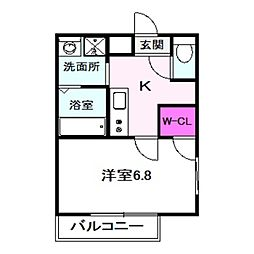 フジパレス今福西I番館 3階1Kの間取り