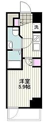 BANDOBASHI KNOTS 9階1Kの間取り