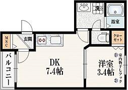仮称 宮坂2丁目メゾン 1階1DKの間取り