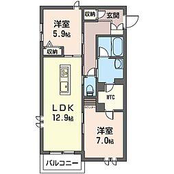 仮称 さいたま市見沼区蓮沼シャーメゾン A棟 2階2LDKの間取り