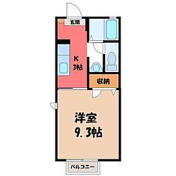 栃木県宇都宮市一条4丁目の賃貸アパートの間取り