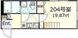 ルノン武蔵新城 2階1Kの間取り