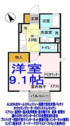 栃木県小山市神鳥谷4丁目の賃貸アパートの間取り