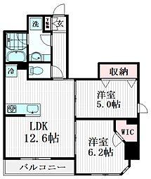 クレストコート志村坂上 2階2LDKの間取り