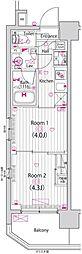 東京メトロ東西線 木場駅 徒歩13分の賃貸マンション 6階2Kの間取り