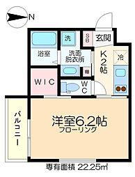 深川YKマンション 1階1Kの間取り