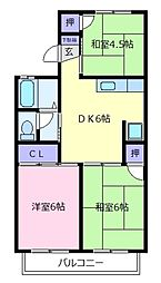 大阪府松原市新堂4丁目の賃貸アパートの間取り