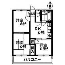 コーポ藤三[202号室]の間取り