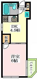 東京都世田谷区代沢4丁目の賃貸アパートの間取り