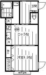 コニファー 1階1DKの間取り