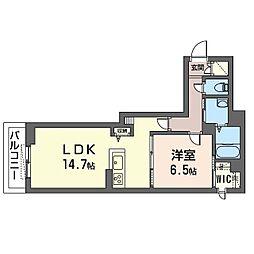 仮)ベレオ・フジコート新松戸 1階1LDKの間取り