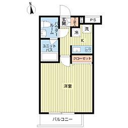スカイコート下北沢壱番館 4階1Kの間取り