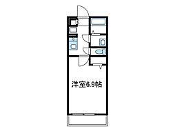 小田急小田原線 本厚木駅 徒歩10分の賃貸マンション 3階1Kの間取り