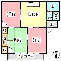 ガーデンビュー西中[110号室]の間取り