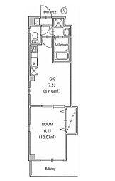 JR山手線 田端駅 徒歩8分の賃貸マンション 3階1DKの間取り