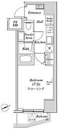 ニューガイアリルーム芝No.28 2階1Kの間取り