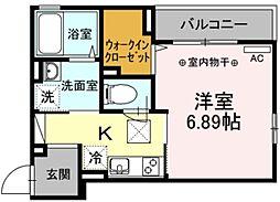 ルミエールIII 1階1Kの間取り