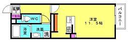 WITH ROSE AKASHI[2B号室]の間取り