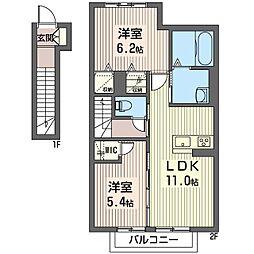 仮称 光陽台6丁目シャーメゾン 2階2LDKの間取り