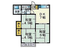 七隈コーポ[203号室]の間取り