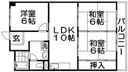 奥野マンション[3階]の間取り