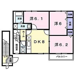 愛知県豊橋市神野新田町字タノ割の賃貸アパートの間取り