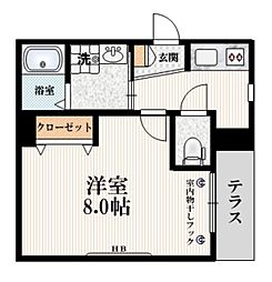 都営三田線 白山駅 徒歩5分の賃貸マンション 1階1Kの間取り