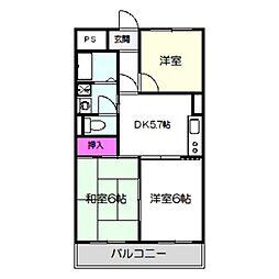 Osaka Metro谷町線 千林大宮駅 徒歩3分の賃貸マンション 2階3DKの間取り