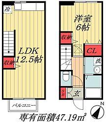 JR総武線 本八幡駅 徒歩25分の賃貸アパート 1階1LDKの間取り